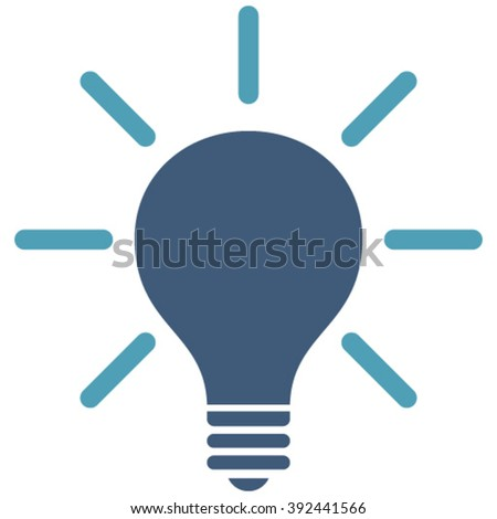 Light Bulb vector icon. Image style is bicolor flat light bulb pictogram drawn with cyan and blue colors on a white background.