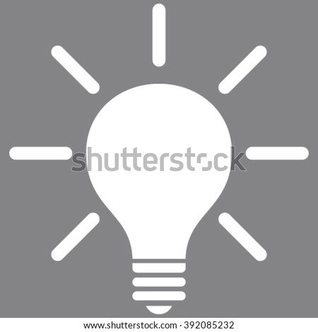 Light Bulb vector icon. Image style is flat light bulb pictogram symbol drawn with white color on a gray background.