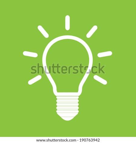 Light bulb vector icon on green background - stock vector