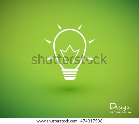 Light bulb vector icon on green background.