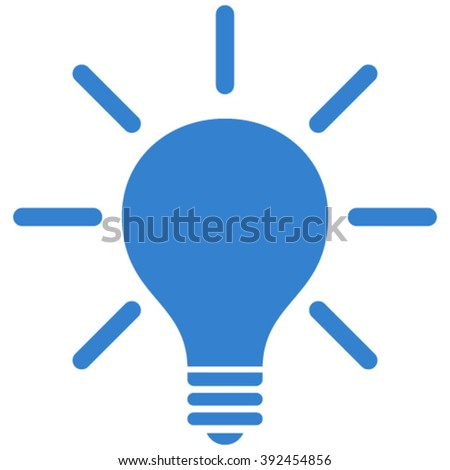 Light Bulb vector icon. Style is flat icon symbol, cobalt color, white background.