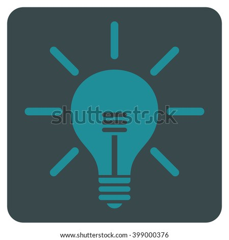 Light Bulb vector icon symbol. Image style is bicolor flat light bulb icon symbol drawn on a rounded square with soft blue colors.