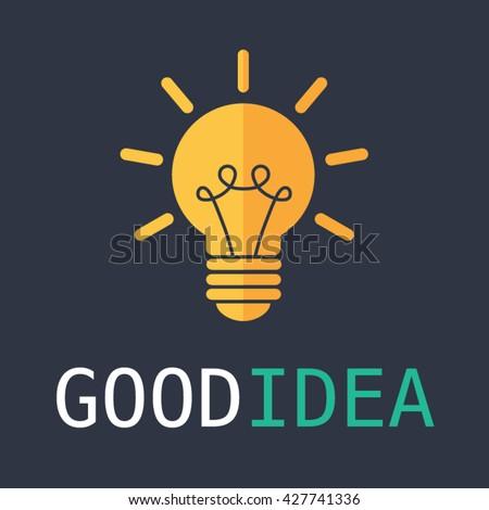 Light bulb vector illustration. Good idea and thinking simple flat design. - stock vector