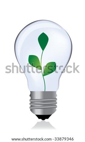 Light bulb whit plant / vector - stock vector