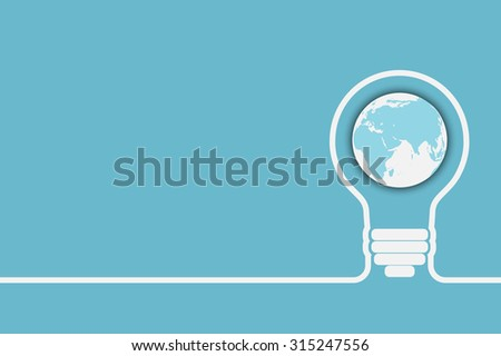 light bulb with a world globe. Conceptual illustration for your design - stock vector
