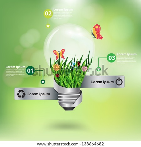 light bulb with beautiful flower inside with green bokeh abstract light background, Vector illustration template design  - stock vector