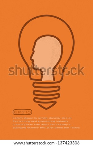 Light bulb with brain head, idea concept  , eps10 vector format - stock vector