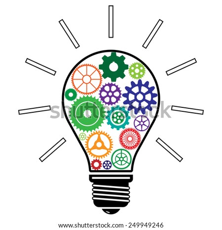 Light Bulb with Colorful Gears, idea! Conceptual icon- vector illustration, you can change color of elements - stock vector