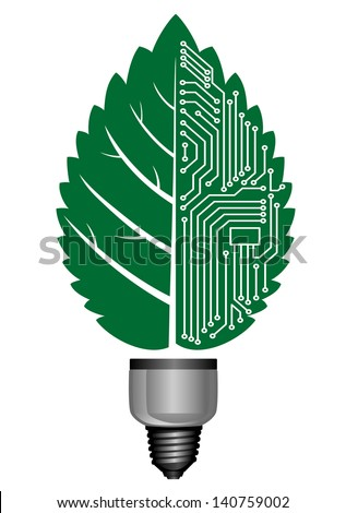 Light bulb with computer elements for environment concept design. Jpeg (bitmap) version also available in gallery - stock vector