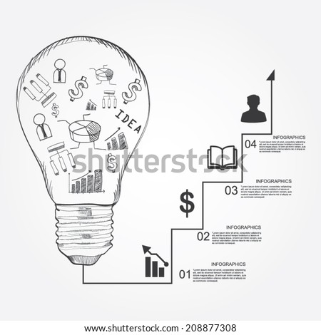 Light Bulb With Drawing Business Success Strategy Plan Idea Inspiration Concept Modern Design Template
