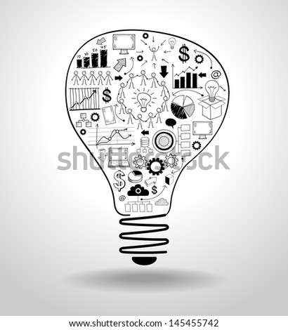 light bulb with drawing icons modern business concept.  File stored in version AI10 EPS. This image contains transparency.