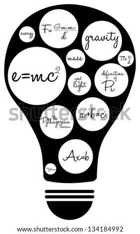 Light Bulb With Famous Mathematical Equations - stock vector