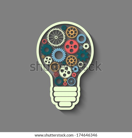 light bulb with gears and cogs working together, teamwork concept, retro style - stock vector