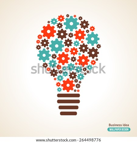 Light Bulb with Gears Pattern. Vector Illustration. Business Idea Creative Concept. Idea Abstract Infographics Template. Idea Symbol. - stock vector