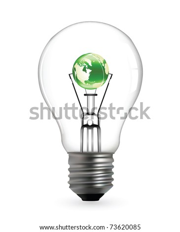Light bulb with green earth map in vector format - stock vector