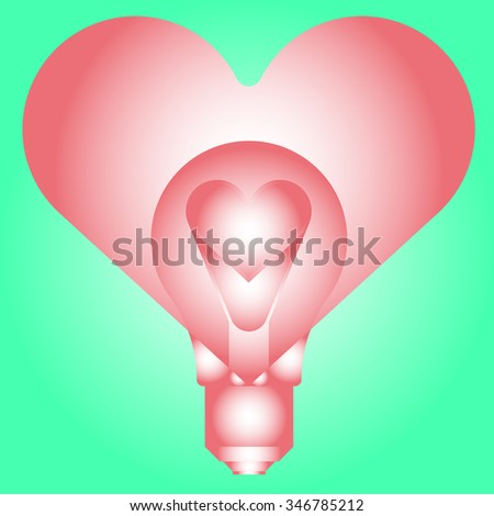 Light bulb with heart - abstract vector art illustration. Valentine's Day.