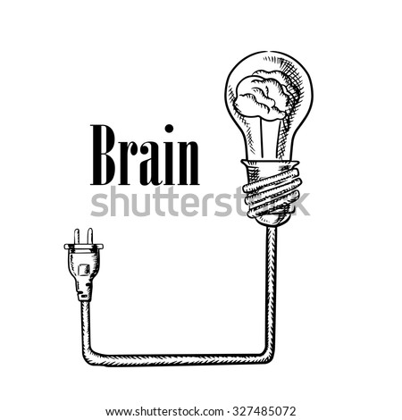 Light bulb with human brain inside, connected to electrical plug, for idea generation, brainstorm or inspiration concept. Sketch style image - stock vector