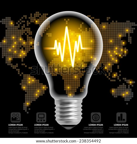 Light bulb with line chart on black back background with world map. Modern design template. Global business concept. Vector illustration  - stock vector