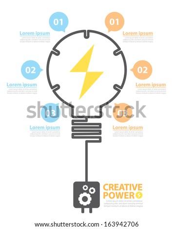 Light bulb with option banner. Concept Creative power options banner. Vector illustration. flat design design layout for poster, flyer, cover brochure, number options, web design, infographics. - stock vector