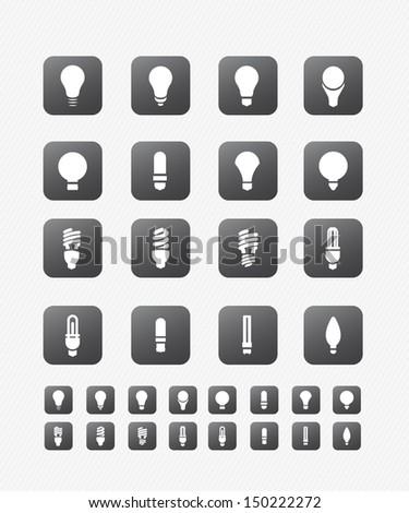 Light bulbs icon on black button - stock vector