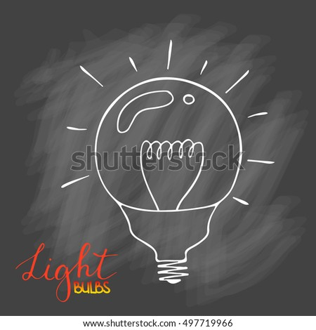 Light bulbs icon set. concept of big ideas inspiration, innovation, invention, effective thinking. CFL lamp.  Isolated. Vector illustration.  Idea symbol. Vector. sketch . On chalk background.