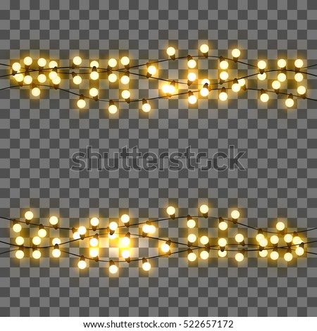 Light Bulbs Realistic Retro Garland Background With Yellow Glowing Lights On Transparent