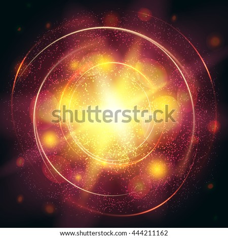 light burst yellow explosion with rays, abstract elements, lines. vector illustration