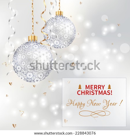 light Christmas background with two silver balls - stock vector