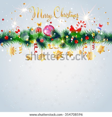 Light Christmas card with decoration. Happy holiday background with place for text. Christmas design for card, banner,ticket, leaflet and so on. - stock vector