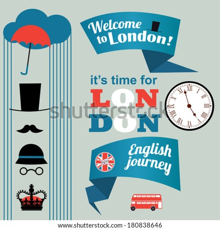 light collection of London stickers - stock vector