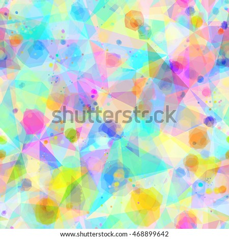 Light colorful triangle pattern with spots. Crystal structure, edge. Art seamless background for fabric.  Abstract vector texture. Watercolor effect