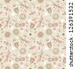 Light cute pattern with flowers, dragonflies and butterflies. Floral fabric seamless texture. Doodle elegant background - stock