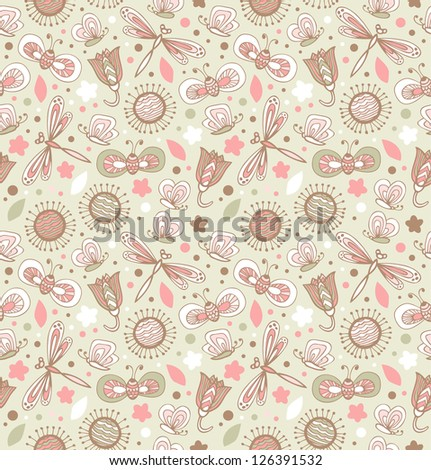 Light cute pattern with flowers, dragonflies and butterflies. Floral fabric seamless texture. Doodle elegant background