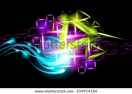 Light effect background. Wave energy in the black. - stock vector
