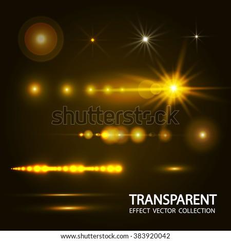 Light Effect Set. Spotlights, Flash, Stars & Loading Bar. Vector illustration  - stock vector