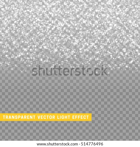 light effect white with silver texture glowing rain of confetti. Glitter particles shining stars. Christmas background Bright design element. Xmas decoration luxury greeting card