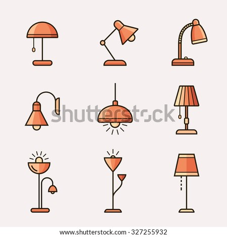 Light fixtures icon set. Lamps, chandeliers and other lighting devices. Material design style - stock vector