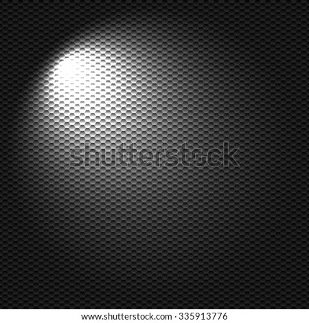 Light flashlight on the black textured cell background - stock vector