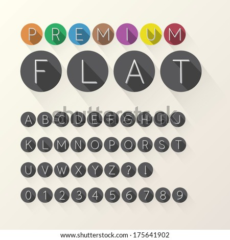 Light Flat Font and Numbers in Circle, Eps 10 Vector, Editable for any Background, No Clipping Mask - stock vector