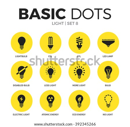 Light flat icons set with led lamp, eco energy form and bulb form isolated vector illustration on white - stock vector