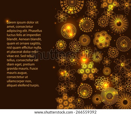 light frame background for your text or presentation with many bright flowers - stock vector