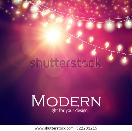 light garlands flash light on purple background christmas lights vector illustration
