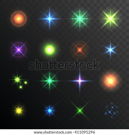 Light Glare, Highlight. Lens Flares Set. Lighting effects of flash. Vector - stock vector