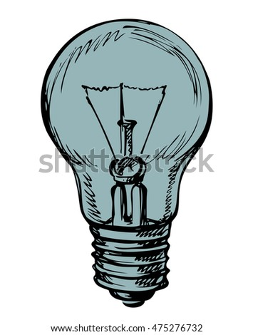 Light globe, old idea symbol isolated on white background. Outline freehand ink drawn backdrop sketchy in art ancient scrawl style pen on paper. View closeup with space for text