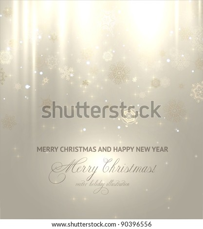 Light gold abstract Christmas background with white snowflakes - stock vector