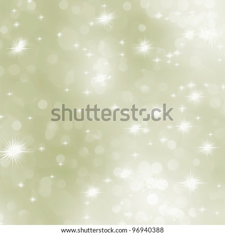 Light gold abstract Christmas background with white snowflakes. EPS 8 vector file included - stock vector