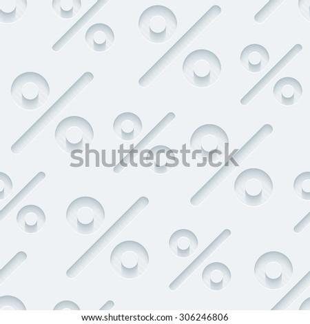 Light gray percent symbols wallpaper. 3d seamless background. Vector EPS10. - stock vector