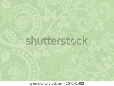 light green background with floral ornaments - stock vector