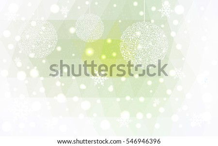 Light green christmas postcard low polygon background. Vector illustration consisting of triangles. Abstract triangular polygonal origami or crystal design of New Year celebration.