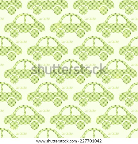 Light Green Eco Car Seamless Pattern. Vector Illustration of Earth Protection Concept - stock vector